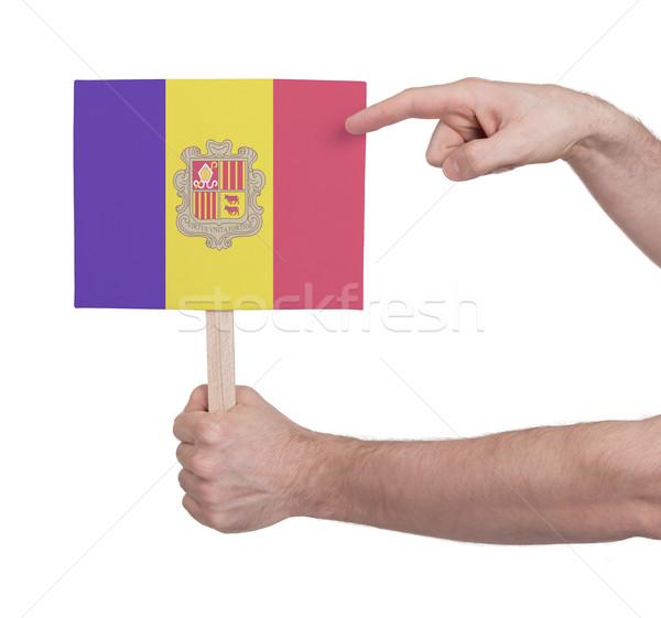 Hand halten wenig Karte Flagge Andorra Stock foto © michaklootwijk