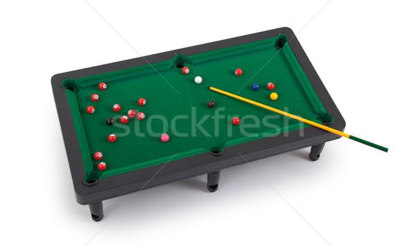 Zdjęcia stock: Miniatura · bilard · tabeli · biały · dziedzinie · pomarańczowy