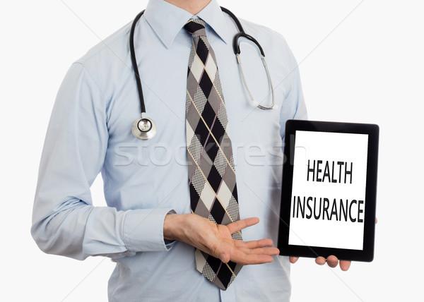 Foto d'archivio: Medico · tablet · assicurazione · sanitaria · isolato · bianco