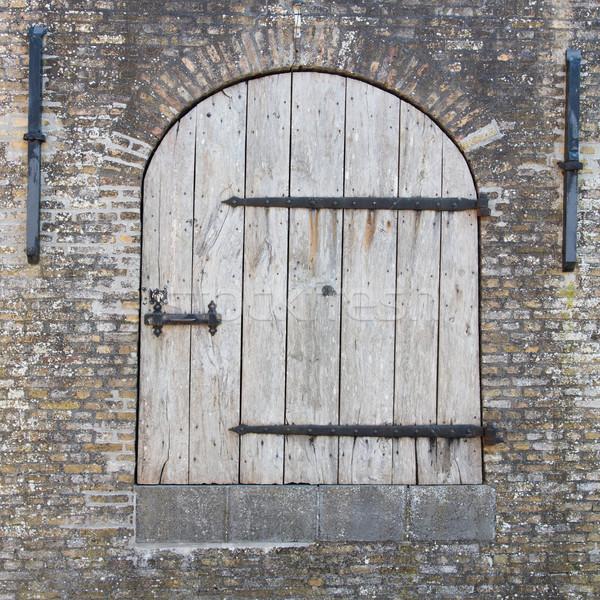 Old wooden door in a wall Stock photo © michaklootwijk