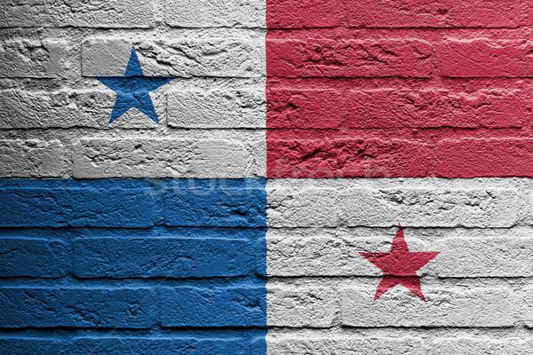 Tuğla duvar boyama bayrak Panama yalıtılmış doku Stok fotoğraf © michaklootwijk