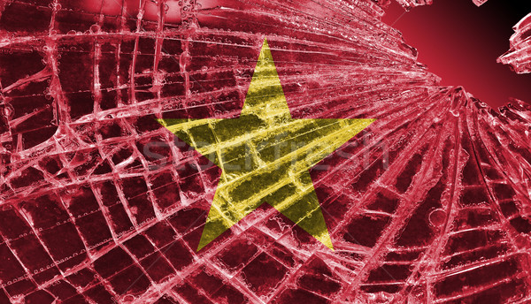 Broken ice or glass with a flag pattern, Vietnam  Stock photo © michaklootwijk