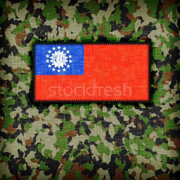 álca egyenruha Myanmar zászló textúra absztrakt Stock fotó © michaklootwijk