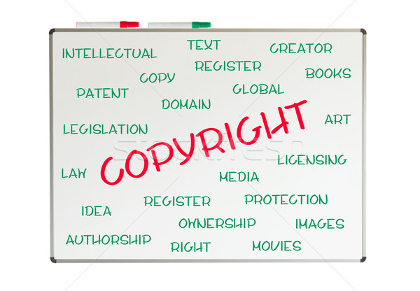 Szerzői jog szófelhő írott tábla háttér ügyvéd Stock fotó © michaklootwijk