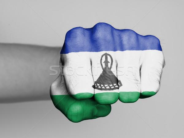 Punho homem bandeira Lesoto mão cabelo Foto stock © michaklootwijk