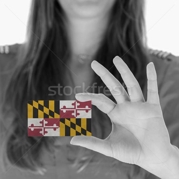 Nő mutat névjegy feketefehér Maryland űr Stock fotó © michaklootwijk