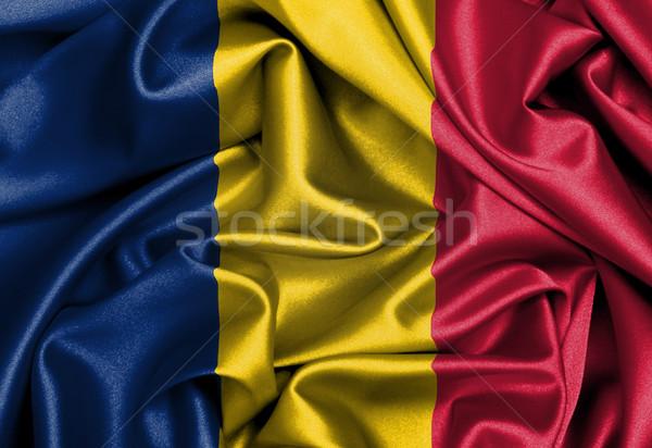 Szatén zászló háromdimenziós render Csád textúra Stock fotó © michaklootwijk