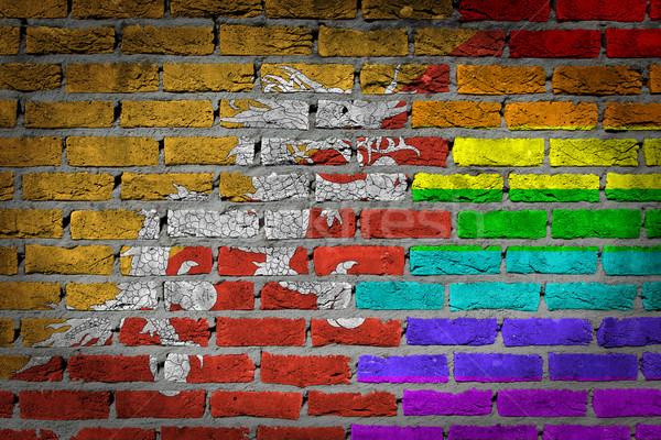 Escuro parede de tijolos direitos Butão textura bandeira Foto stock © michaklootwijk