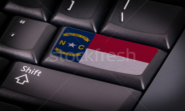Bandeira teclado botão Carolina do Norte projeto laptop Foto stock © michaklootwijk