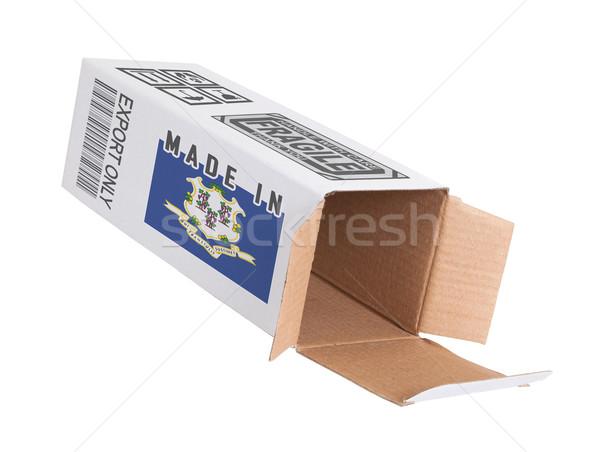 Export termék Connecticut kinyitott papír doboz Stock fotó © michaklootwijk