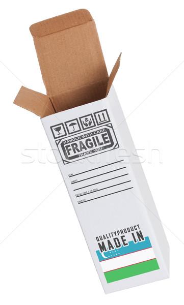 Export termék Üzbegisztán kinyitott papír doboz Stock fotó © michaklootwijk