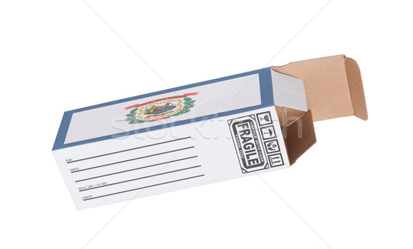 Export termék Nyugat-Virginia kinyitott papír doboz Stock fotó © michaklootwijk