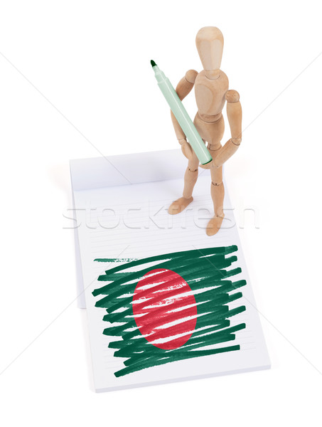 Houten etalagepop tekening Bangladesh vlag papier Stockfoto © michaklootwijk