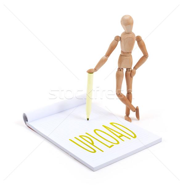 Houten etalagepop schrijven plakboek papier Stockfoto © michaklootwijk