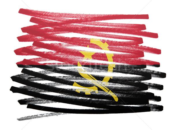 флаг иллюстрация Ангола пер бизнеса краской Сток-фото © michaklootwijk