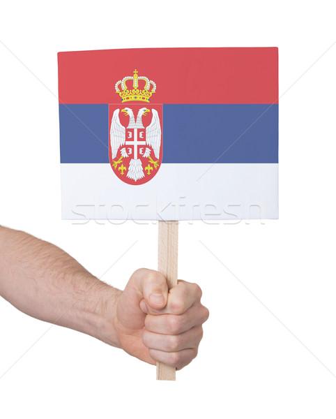 Mão pequeno cartão bandeira Sérvia Foto stock © michaklootwijk