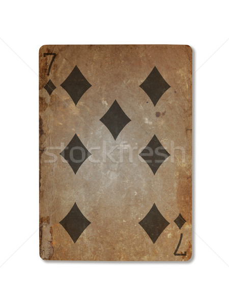Very old playing card, seven of diamonds Stock photo © michaklootwijk