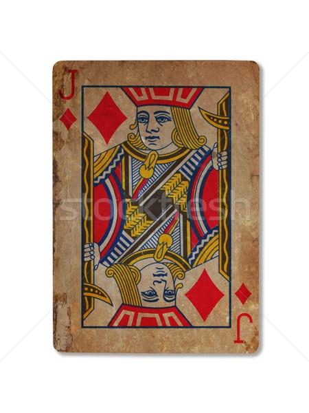 Oude spelen kaart diamanten geïsoleerd witte Stockfoto © michaklootwijk