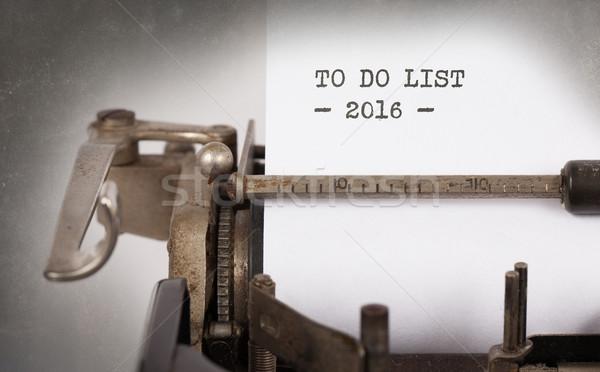 Vintage typewriter  - To Do List 2016 Stock photo © michaklootwijk