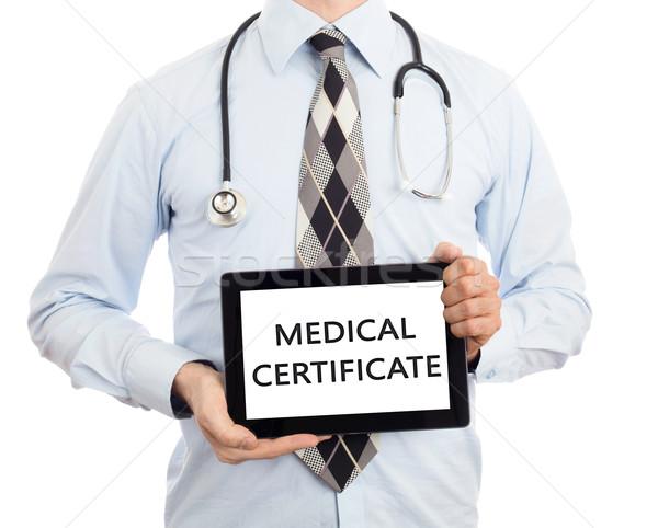 Stok fotoğraf: Doktor · tablet · tıbbi · sertifika · yalıtılmış