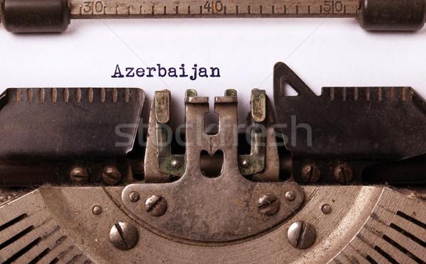 Foto stock: Edad · máquina · de · escribir · Azerbaiyán · país · carta