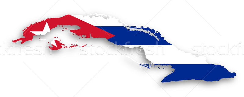 Map of Cuba filled with flag Stock photo © michaklootwijk