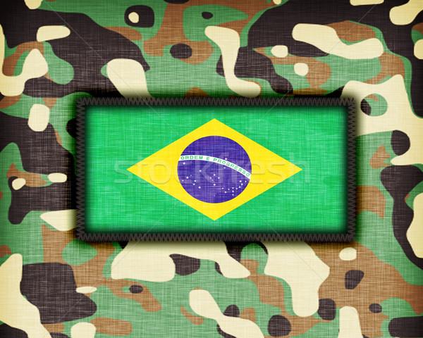 Tarnung einheitliche Brasilien Flagge Textur abstrakten Stock foto © michaklootwijk