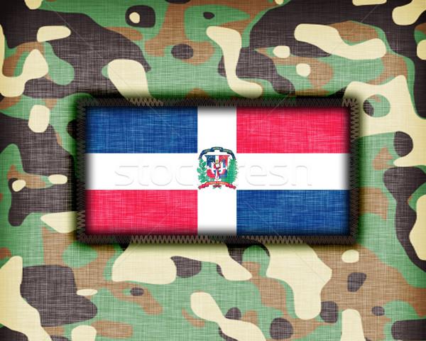 Kamuflaż uniform Dominikana banderą tekstury streszczenie Zdjęcia stock © michaklootwijk