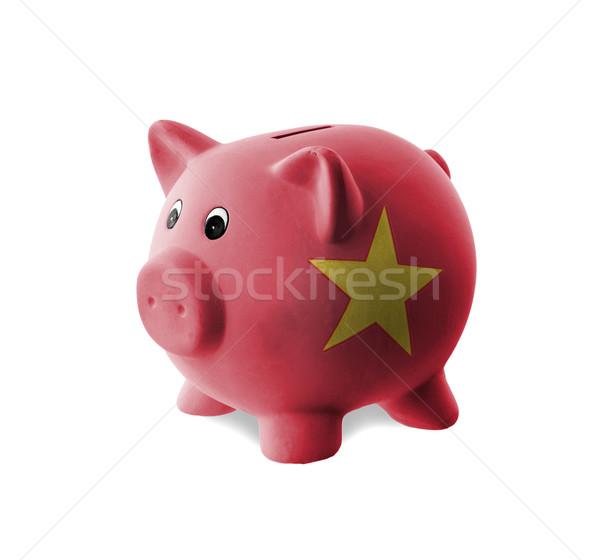 керамической Piggy Bank Живопись флаг Вьетнам деньги Сток-фото © michaklootwijk