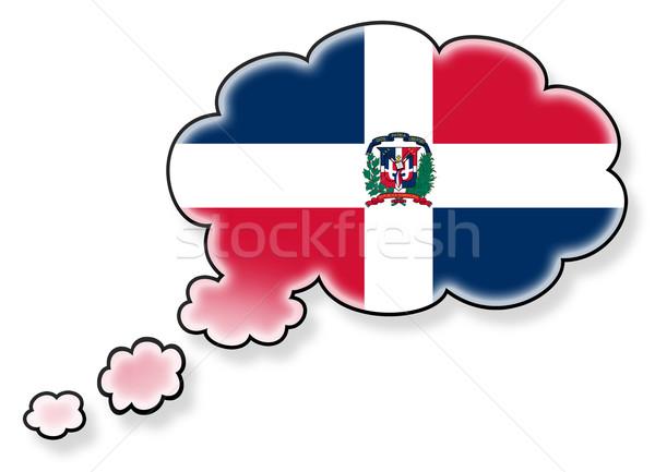 Bayrak bulut yalıtılmış beyaz Dominik Cumhuriyeti sanat Stok fotoğraf © michaklootwijk