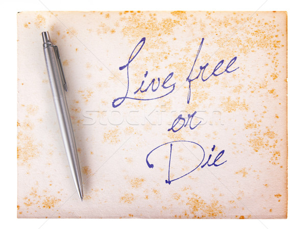 Old paper grunge background - Live free or die Stock photo © michaklootwijk