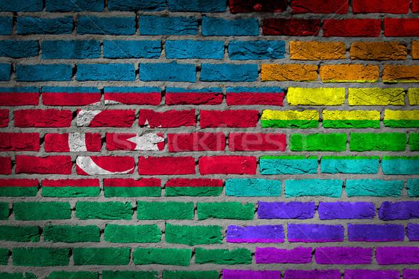 Oscuro pared de ladrillo derechos Azerbaiyán textura bandera Foto stock © michaklootwijk