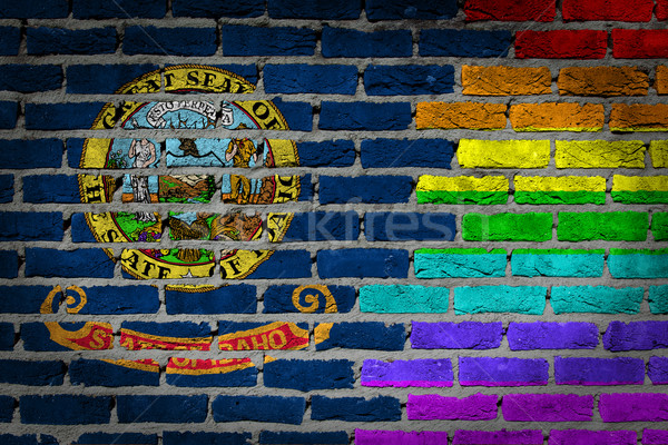 Escuro parede de tijolos direitos Idaho textura bandeira Foto stock © michaklootwijk