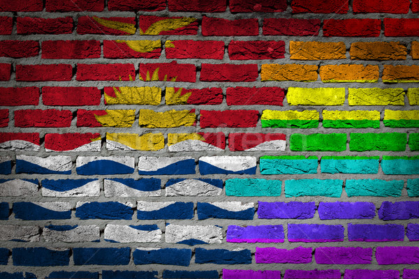 Sötét téglafal jogok Kiribati textúra zászló Stock fotó © michaklootwijk