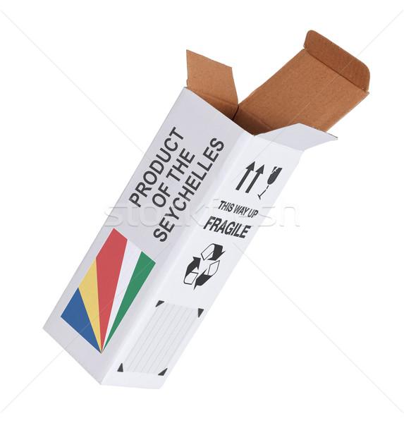 Export termék Seychelle-szigetek kinyitott papír doboz Stock fotó © michaklootwijk
