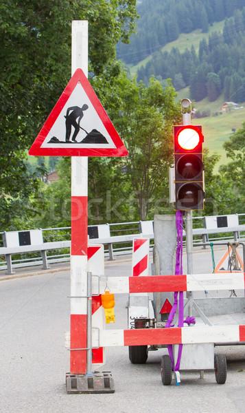 Sinais de trânsito rua reconstrução Suíça estrada assinar Foto stock © michaklootwijk