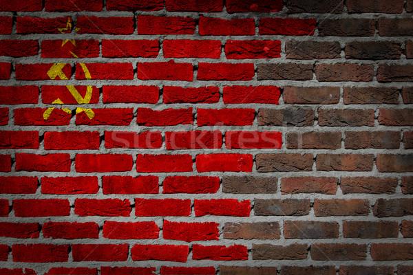 Karanlık tuğla duvar sscb doku bayrak boyalı Stok fotoğraf © michaklootwijk