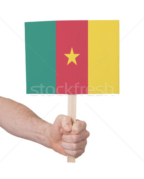Mão pequeno cartão bandeira Camarões Foto stock © michaklootwijk