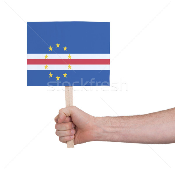 Hand holding small card - Flag of Cape Verde Stock photo © michaklootwijk