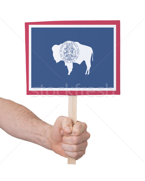 Hand holding small card - Flag of Wyoming Stock photo © michaklootwijk