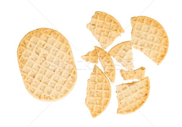 Stockfoto: Klein · cookies · geïsoleerd · witte · frame · tarwe