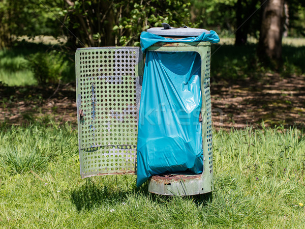 Broken litter bin in the park Stock photo © michaklootwijk