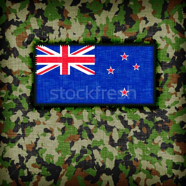Kamuflaż uniform Nowa Zelandia banderą tekstury streszczenie Zdjęcia stock © michaklootwijk