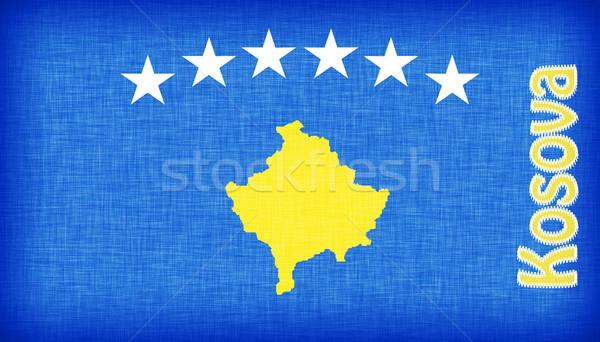 Linen flag of Kosovo Stock photo © michaklootwijk