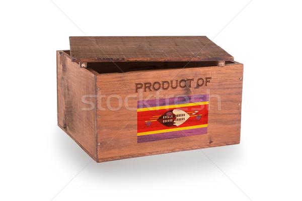Stock fotó: Fából · készült · láda · izolált · fehér · termék · Szváziföld