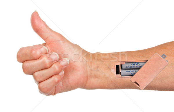 Stock photo: Robot - Insert the battery in an arm