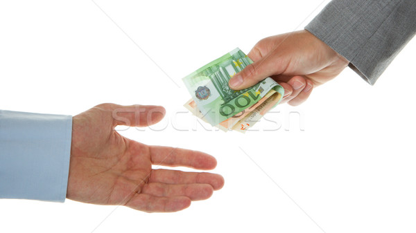 Woman giving 150 euro to a man (business) Stock photo © michaklootwijk