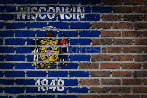 Téglafal textúra zászló öreg sötét piros Stock fotó © michaklootwijk
