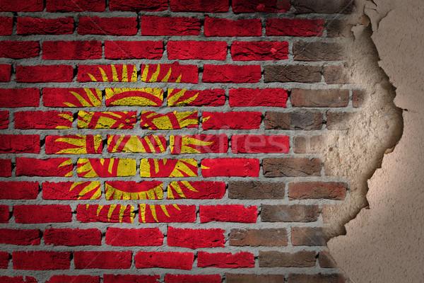 Donkere muur gips Kirgizië textuur vlag Stockfoto © michaklootwijk