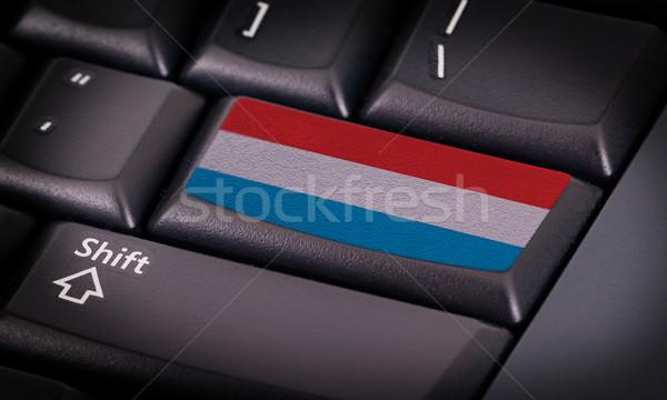 Stockfoto: Vlag · toetsenbord · knop · Luxemburg · ontwerp · laptop